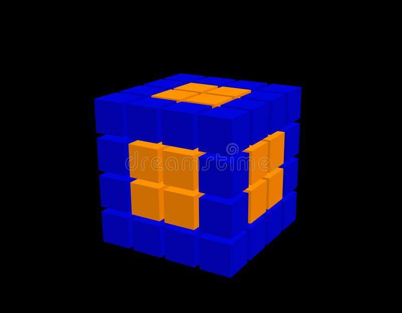Абстрактный куб 3d от кубов Изолировано на черной предпосылке иллюстрация штока