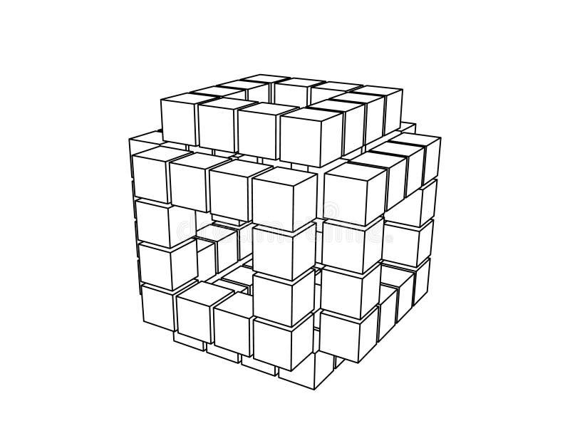 Абстрактный куб 3d от кубов Иллюстрация плана вектора иллюстрация вектора