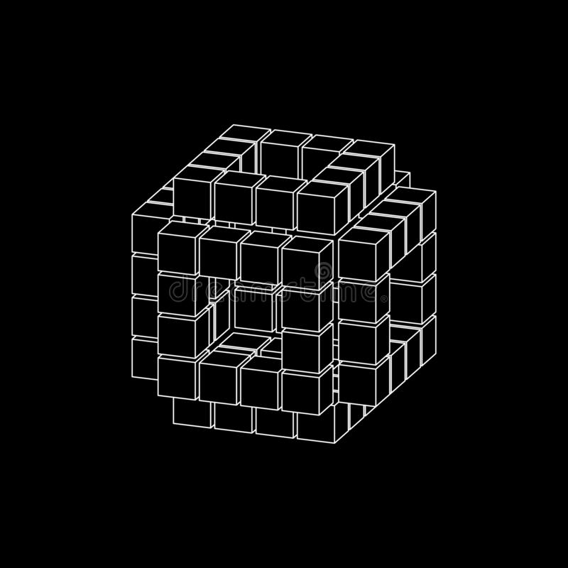Абстрактный куб 3d от кубов Проекция Dimetric Иллюстрация плана вектора иллюстрация штока