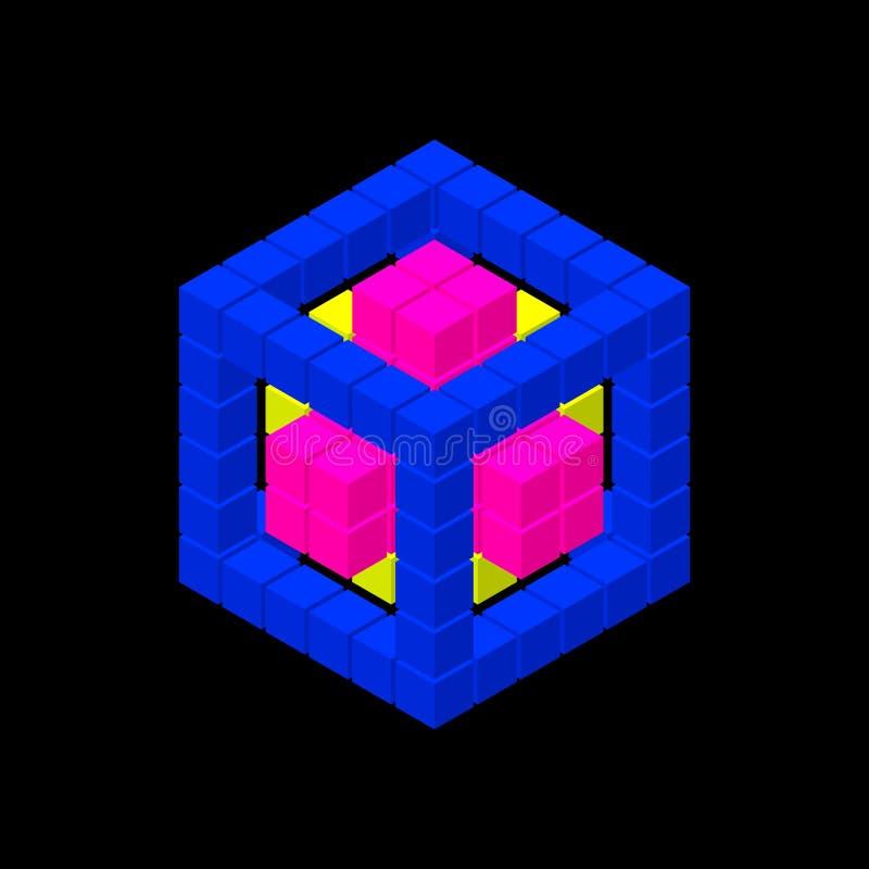 Абстрактный куб 3d от кубов также вектор иллюстрации притяжки corel Равновеликая проекция бесплатная иллюстрация