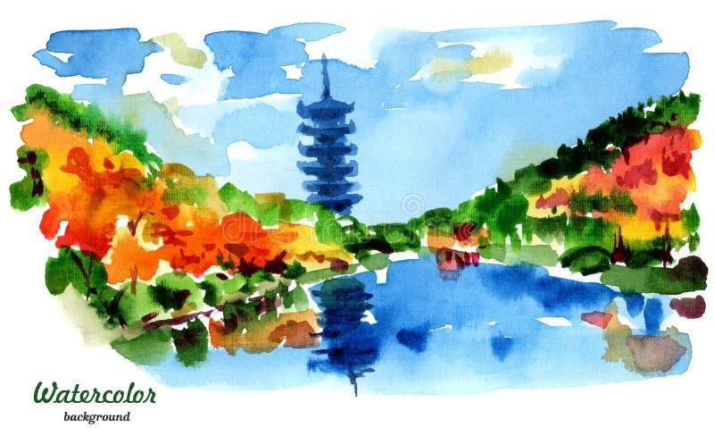 Абстрактный ландшафт Китайские пагода и озеро иллюстрация вектора