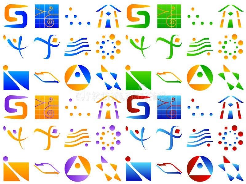 абстрактный логос иконы элементов конструкции различный иллюстрация вектора