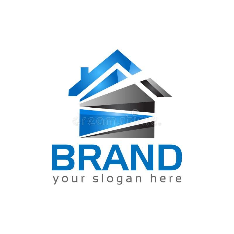 Абстрактный логотип дома - голубой дом Иллюстрация вектора логотипа иллюстрация штока