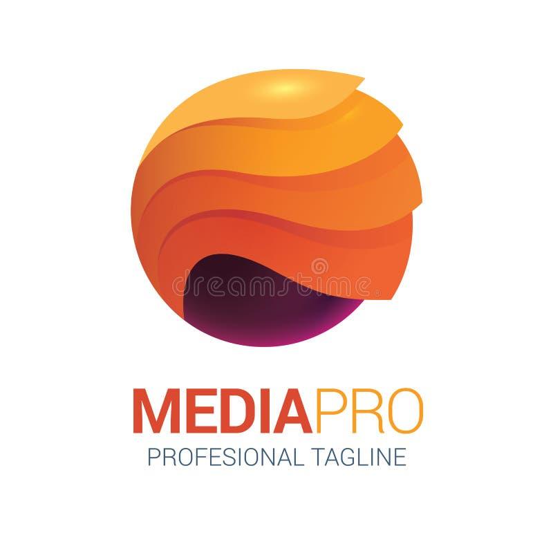 Абстрактный логотип средств массовой информации волны в идеале формата вектора для фирменного стиля иллюстрация вектора