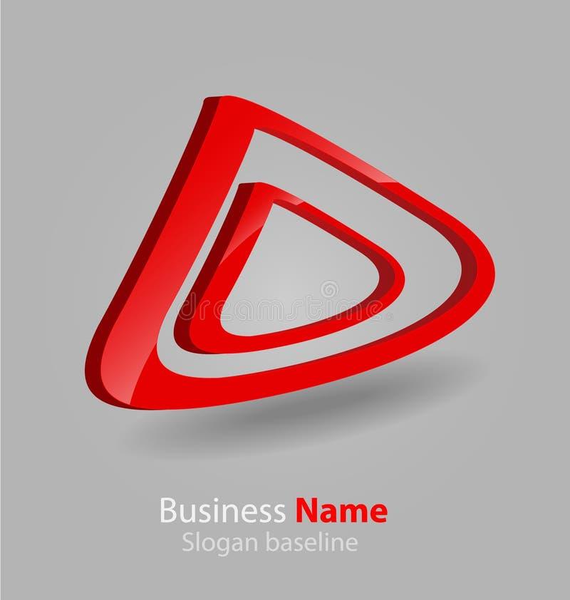 Абстрактный лоснистый логотип вектора 3D дела 3D иллюстрация вектора