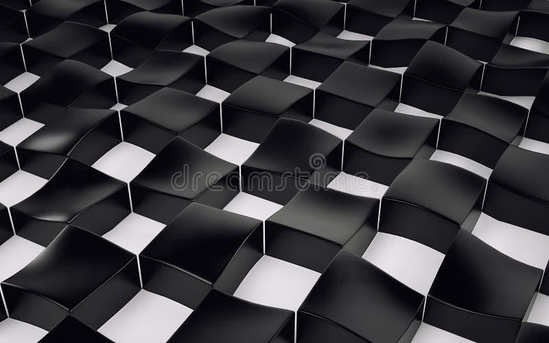 Абстрактный массив shinny черно-белые полигоны 3d представляют иллюстрация штока