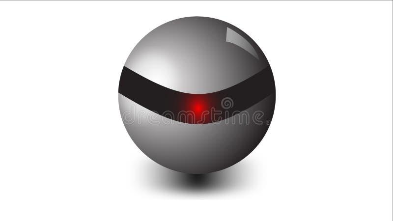 Абстрактный металлический шарик 3D на белой предпосылке бесплатная иллюстрация