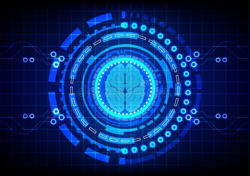 Абстрактный мозг с предпосылкой дизайна концепции технологии круга иллюстрация вектора