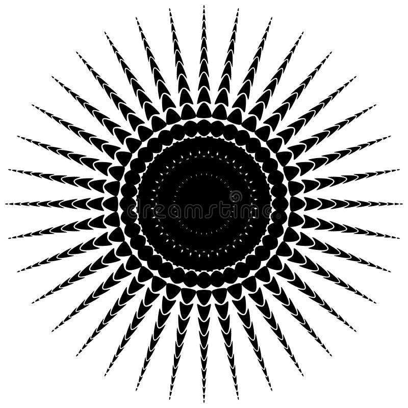Download Абстрактный мотив излучать, концентрический Monochrome элемент на белизне Иллюстрация вектора - иллюстрации насчитывающей иллюстрация, концентрическо: 81810265