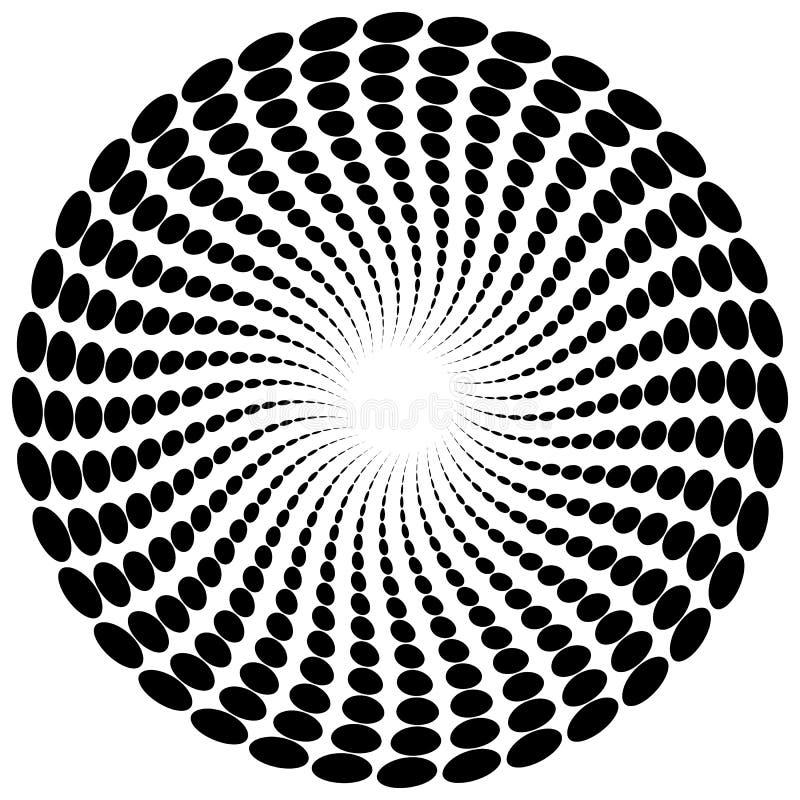 Download Абстрактный мотив излучать, концентрический Monochrome элемент на белизне Иллюстрация вектора - иллюстрации насчитывающей royalty, спираль: 81810282