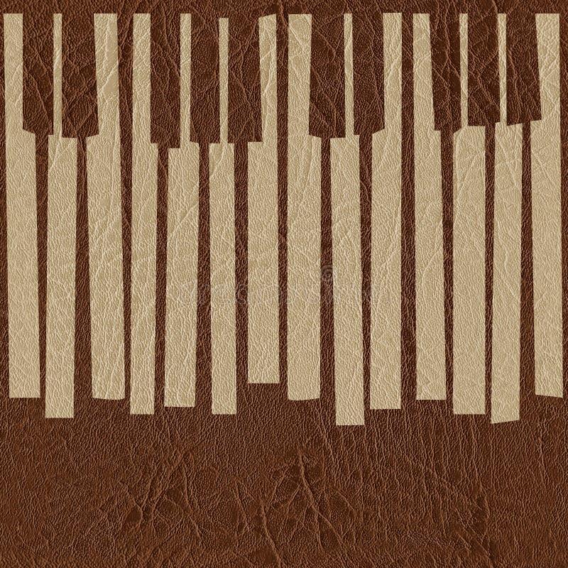 Абстрактный музыкальный рояль пользуется ключом - безшовная предпосылка - кожаный текст иллюстрация штока