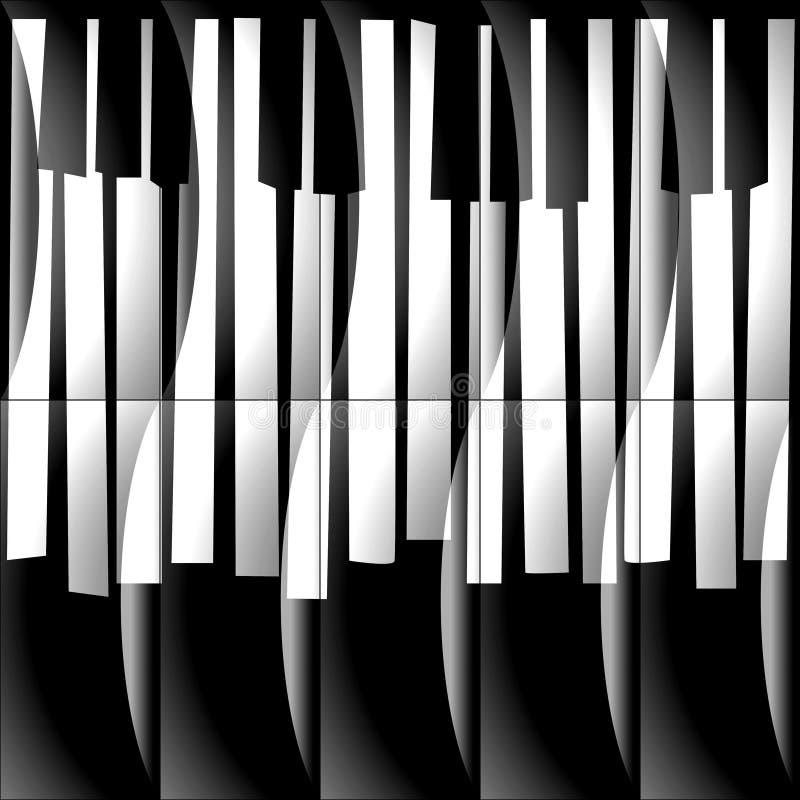 Абстрактный музыкальный рояль пользуется ключом - безшовная предпосылка - monochrome b бесплатная иллюстрация
