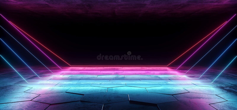 Абстрактный неоновый лазер Sci Fi привел линии розового голубого пурпура накаляя футуристические в комнате пола темного пустого G иллюстрация вектора