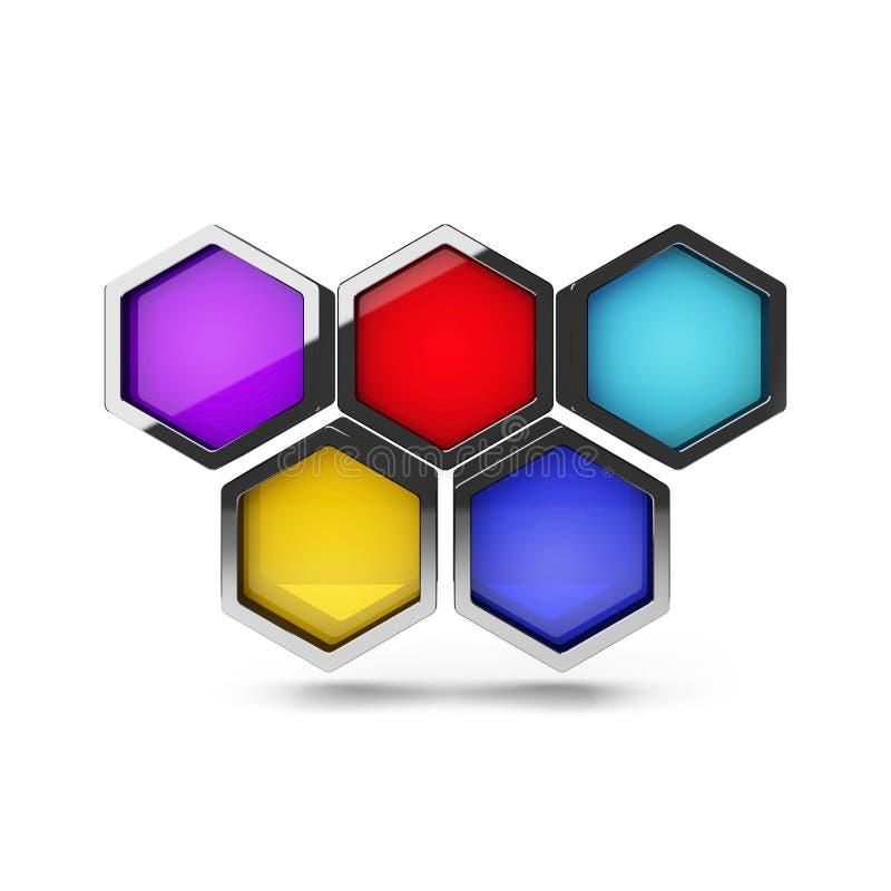 Абстрактный объект дизайна сота 3d на белизне бесплатная иллюстрация