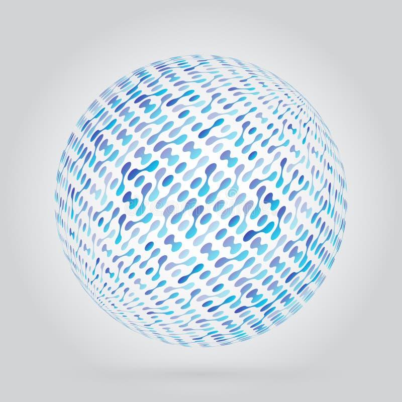 Абстрактный объект сферы с интегрированными metaballs Технологическая текстура предпосылки для вашего дизайна иллюстрация штока