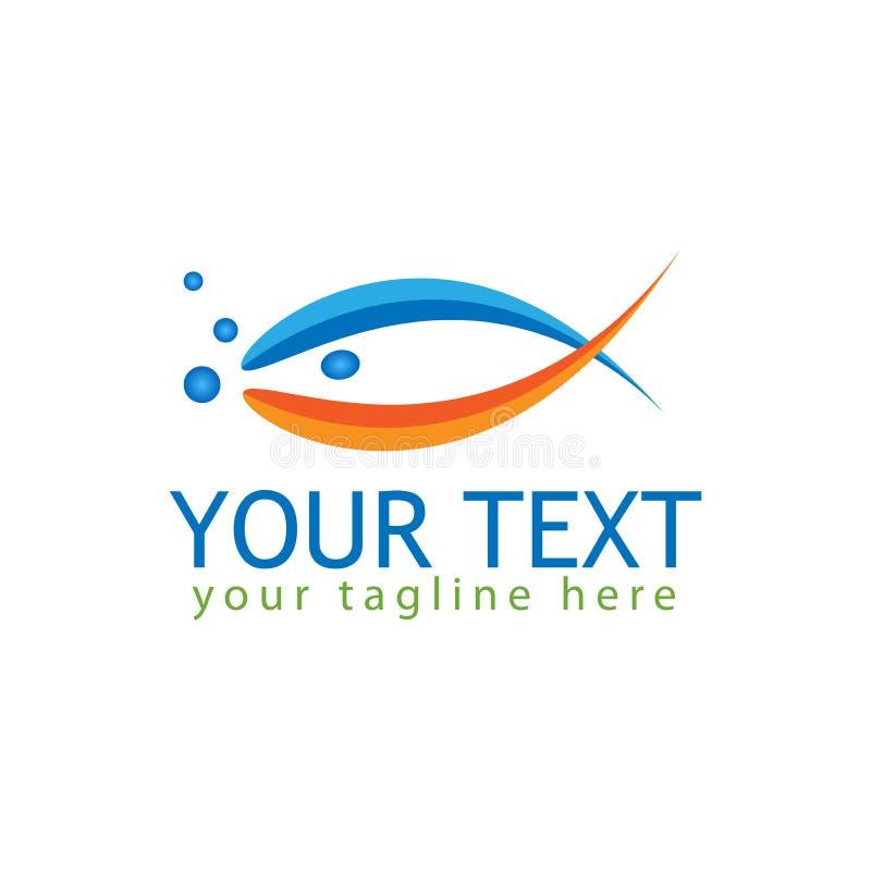 абстрактный логос рыб Рыбы вектора с голубым и оранжевым цветом иллюстрация штока