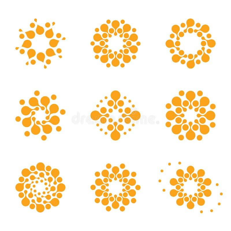 Абстрактный логотип круга вектора Оранжевые необыкновенные установленные логотипы химии Значок вируса Оранжевое солнечное солнце  иллюстрация штока