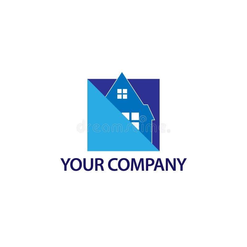 Абстрактный логотип дома - голубой дом Иллюстрация в формате вектора иллюстрация штока