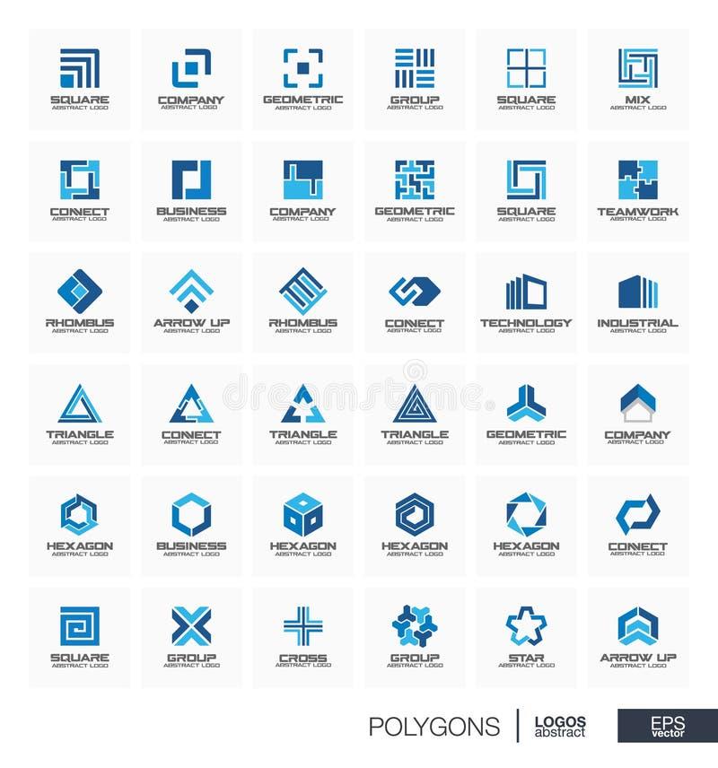 Абстрактный логотип установленный для деловой компании Группа этапа соединяется, концепция треугольника Полигон, квадрат, косоуго бесплатная иллюстрация