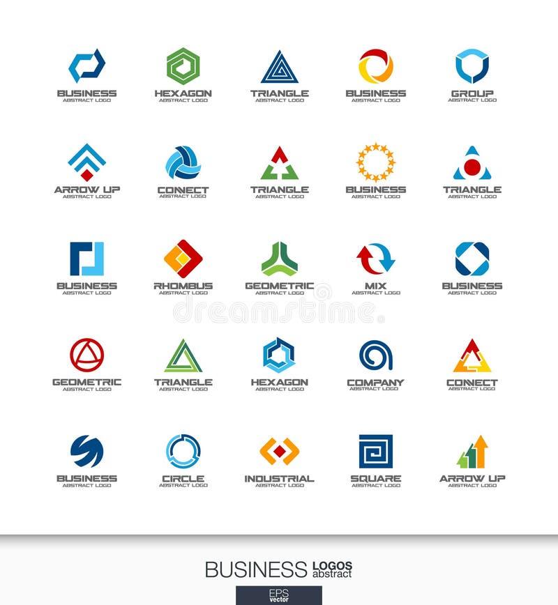 Абстрактный логотип установленный для деловой компании Технология, банк, концепции финансов Промышленный, развитие, маркетинг бесплатная иллюстрация