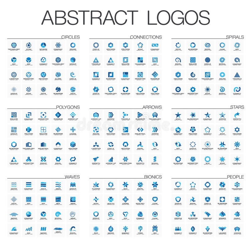 Абстрактный логотип установленный для деловой компании Элементы дизайна фирменного стиля иллюстрация штока
