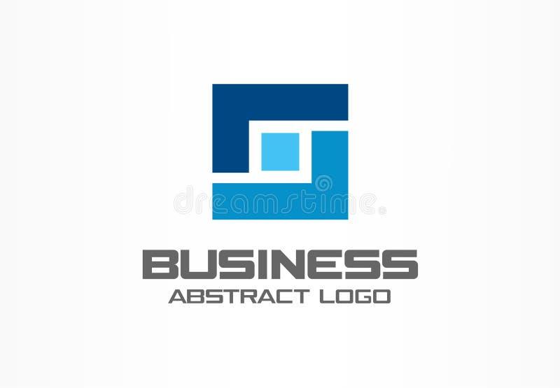 Абстрактный логотип для деловой компании Индустрия, финансы, идея логотипа банка Квадратная группа, сеть интегрирует, технология бесплатная иллюстрация