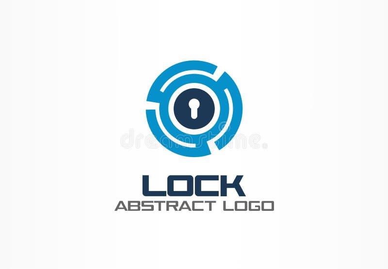 Абстрактный логотип для деловой компании Элемент дизайна фирменного стиля Соединитесь, интегрируйтесь, замок круга, глобус защити иллюстрация вектора