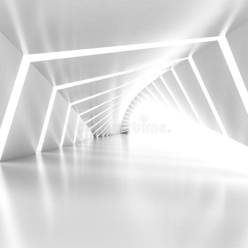 Абстрактный опорожните загоренный белый светя согнутый интерьер коридора иллюстрация штока