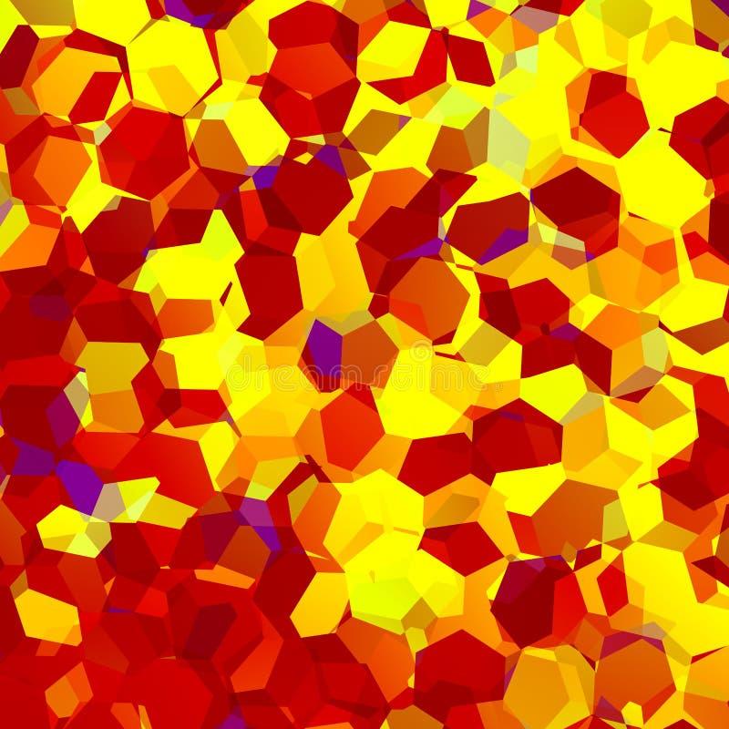 Абстрактный оранжевый Confetti шестиугольника Геометрическая предпосылка искусства элементы конструкции предпосылки 4 снежинки бе иллюстрация вектора