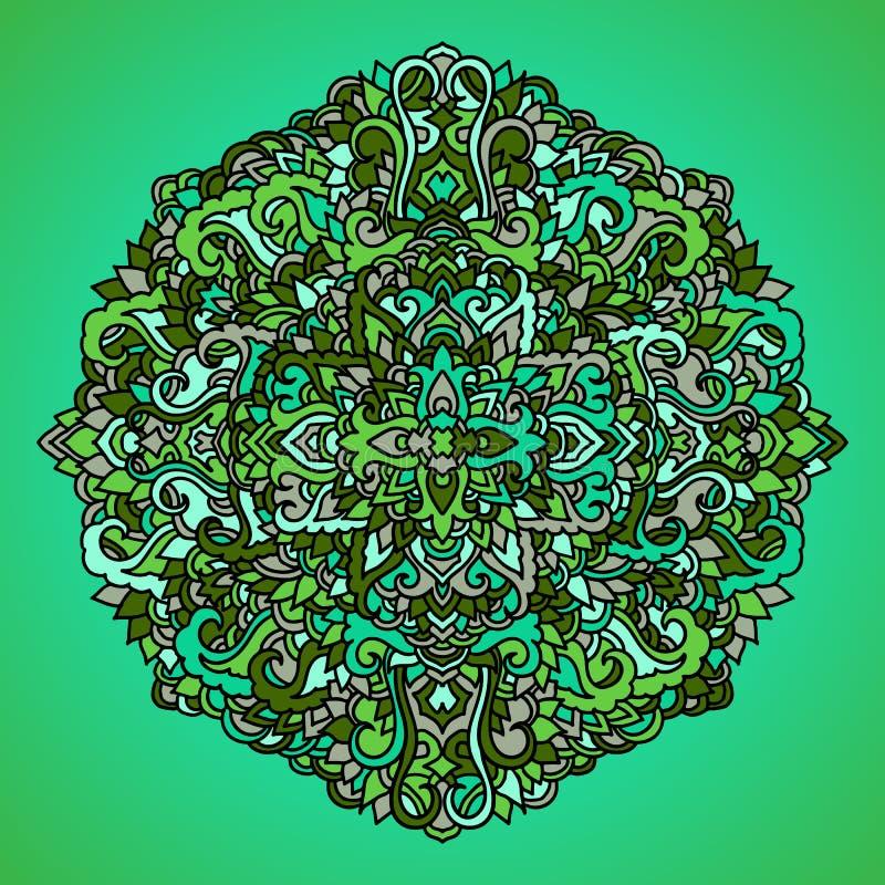 Абстрактный орнамент мандалы азиатская картина Зеленая подлинная предпосылка также вектор иллюстрации притяжки corel иллюстрация штока