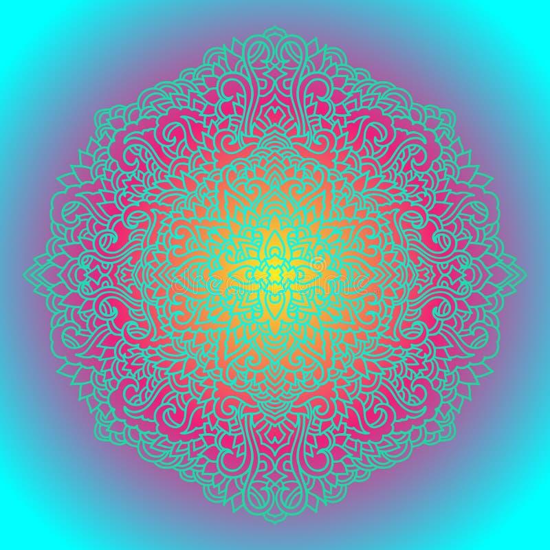 Абстрактный орнамент мандалы азиатская картина Предпосылка градиента подлинная также вектор иллюстрации притяжки corel иллюстрация штока