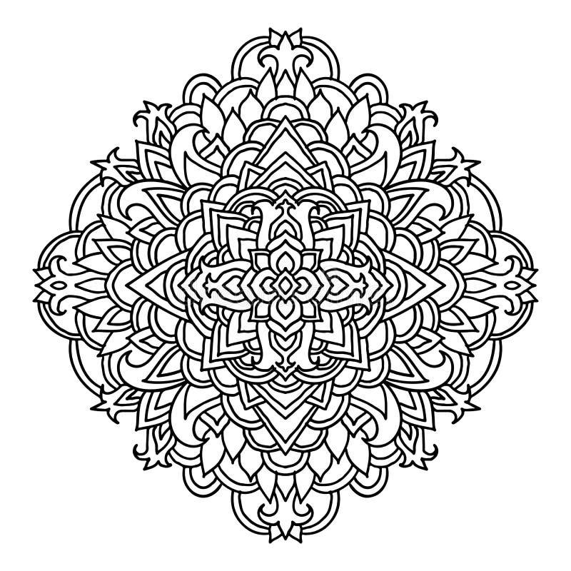 Абстрактный орнамент мандалы азиатская картина Черно-белая подлинная предпосылка также вектор иллюстрации притяжки corel иллюстрация штока