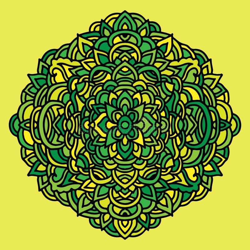 Абстрактный орнамент мандалы азиатский тип картины Зеленая и желтая предпосылка также вектор иллюстрации притяжки corel иллюстрация вектора