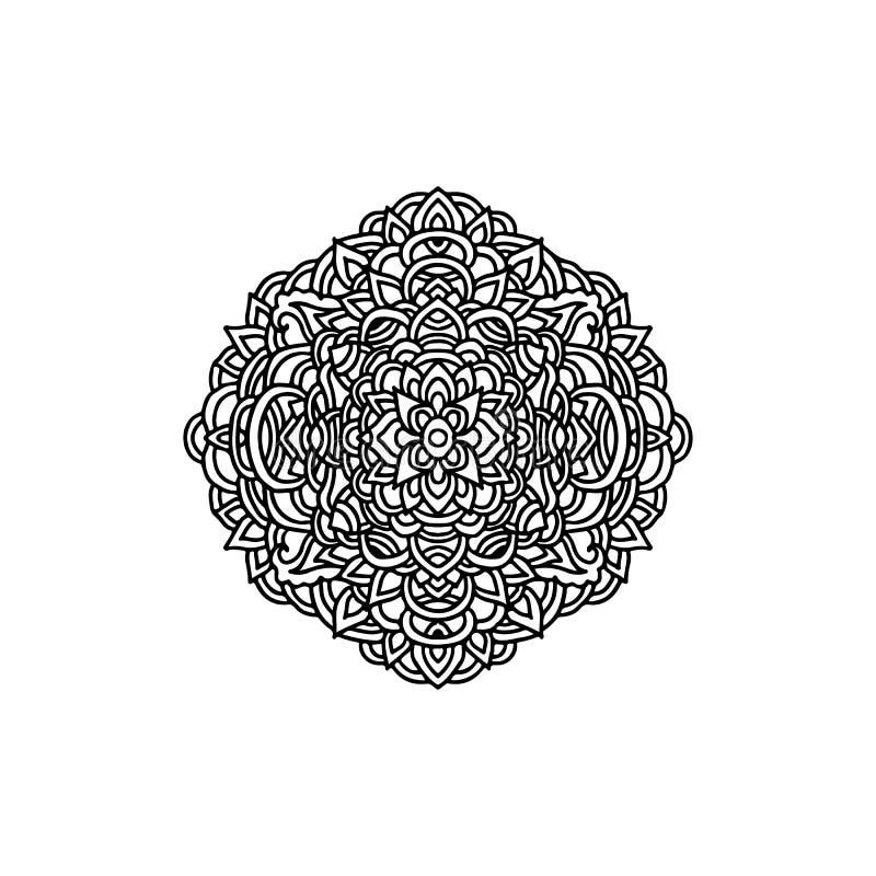 Абстрактный орнамент мандалы азиатский тип картины фрактали цветка конструкции карточки предпосылки белизна плаката ogange черной бесплатная иллюстрация