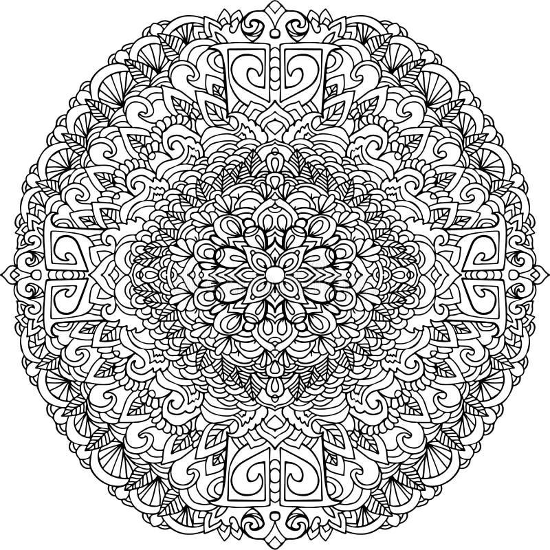 Абстрактный орнамент мандалы для взрослых книжка-раскрасок иллюстрация штока