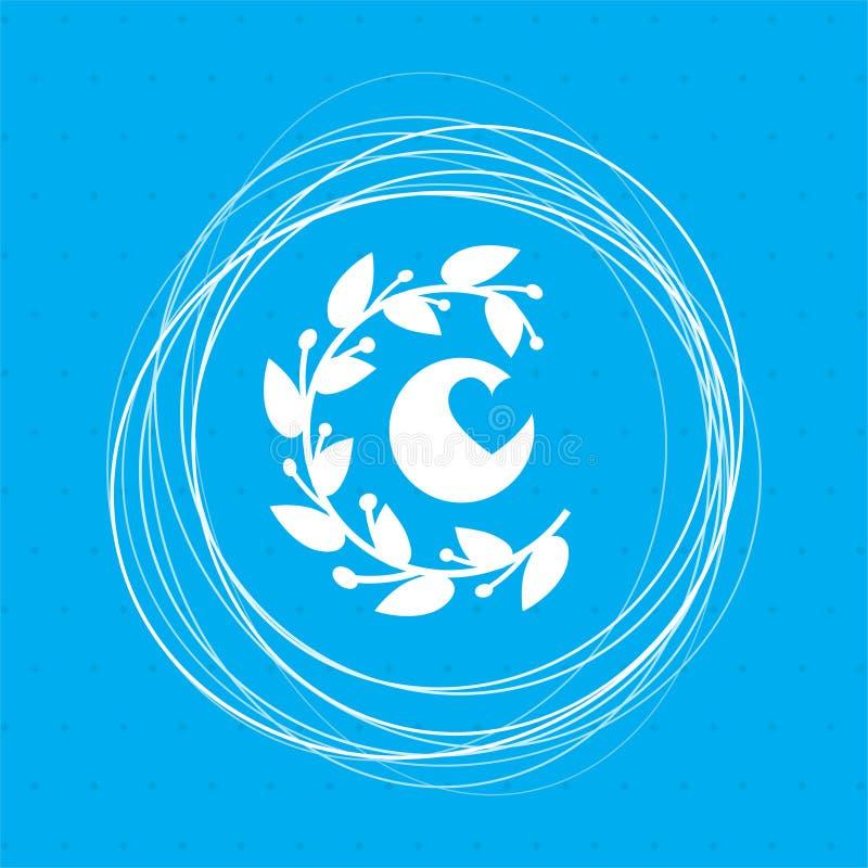 Абстрактный орнамент сердца, цветочный узор, символ влюбленности, значок карточки дня валентинок на голубой предпосылке с кругами иллюстрация штока