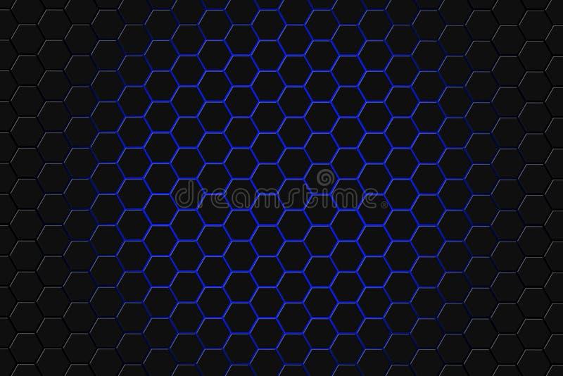 Абстрактный перевод 3d футуристической поверхности с шестиугольниками Голубая предпосылка научной фантастики иллюстрация штока