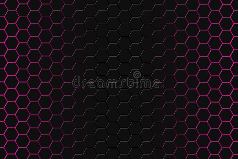 Абстрактный перевод 3d футуристической поверхности с шестиугольниками Темный - красная предпосылка научной фантастики бесплатная иллюстрация