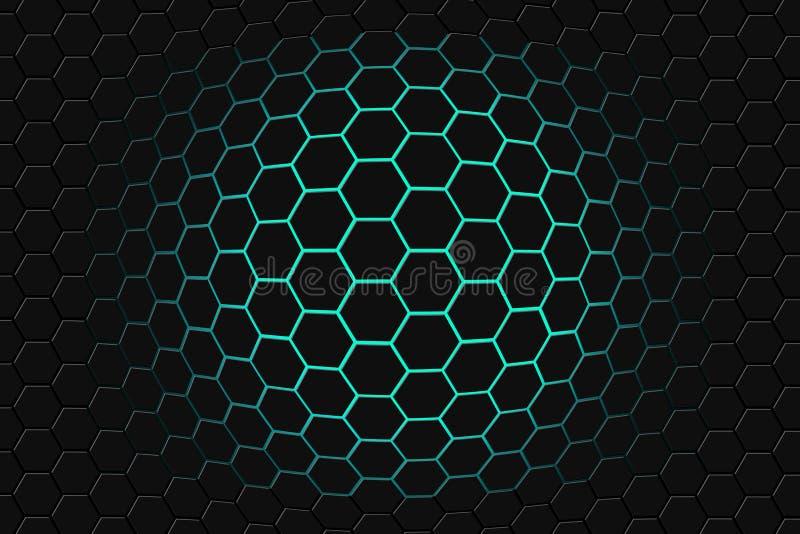 Абстрактный перевод 3d футуристической поверхности с шестиугольниками темная ая-зелен предпосылка научной фантастики иллюстрация вектора