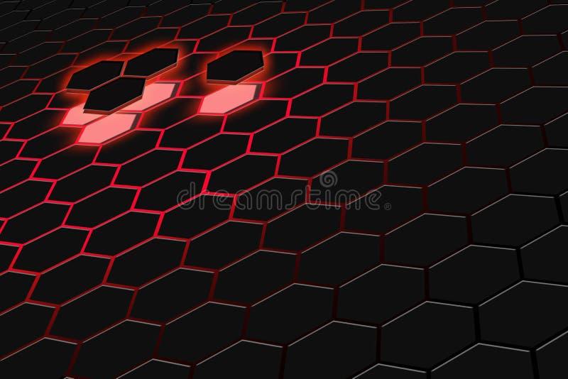 Абстрактный перевод 3d футуристической поверхности с шестиугольниками Темный - красная предпосылка научной фантастики иллюстрация штока