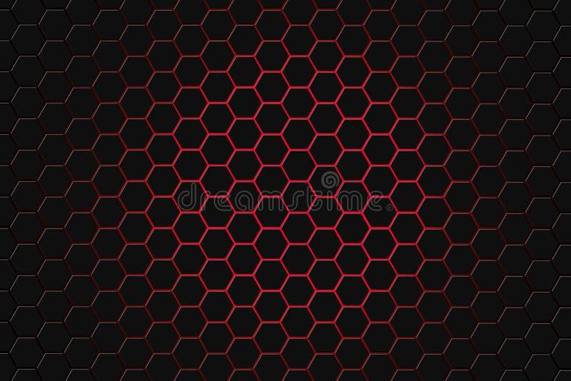 Абстрактный перевод 3d футуристической поверхности с шестиугольниками Темный - красная предпосылка научной фантастики иллюстрация вектора
