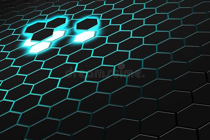 Абстрактный перевод 3d футуристической поверхности с шестиугольниками темная ая-зелен предпосылка научной фантастики бесплатная иллюстрация