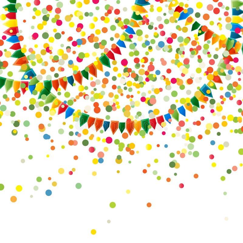Абстрактный пестротканый взрыв много падая крошечных частей confetti и ярких гирлянд праздника цветов от флагов бесплатная иллюстрация