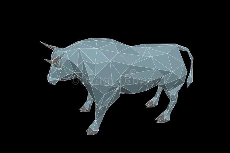 Абстрактный полигональный бык Изолировано на черной предпосылке также вектор иллюстрации притяжки corel иллюстрация вектора