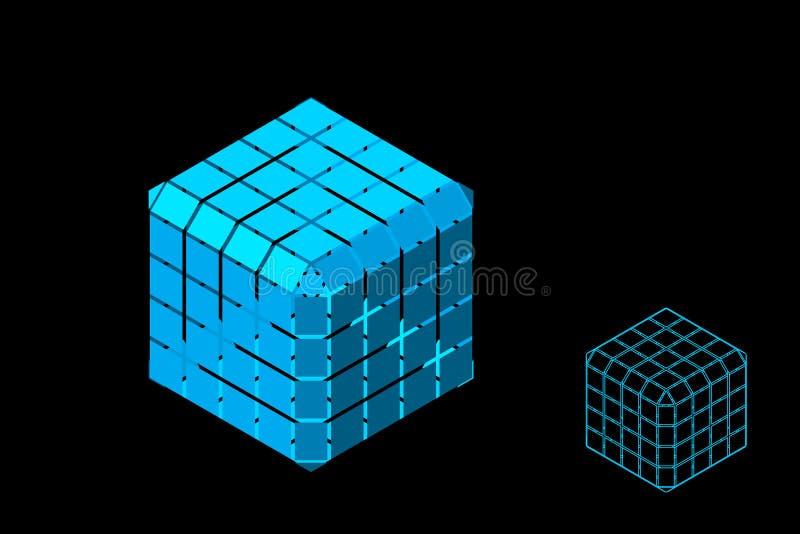 Абстрактный полигональный куб с отрезками r Равновеликая проекция иллюстрация вектора