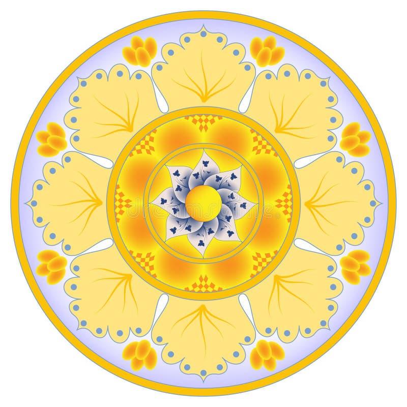 абстрактный помеец цветка тарелки украшения иллюстрация штока