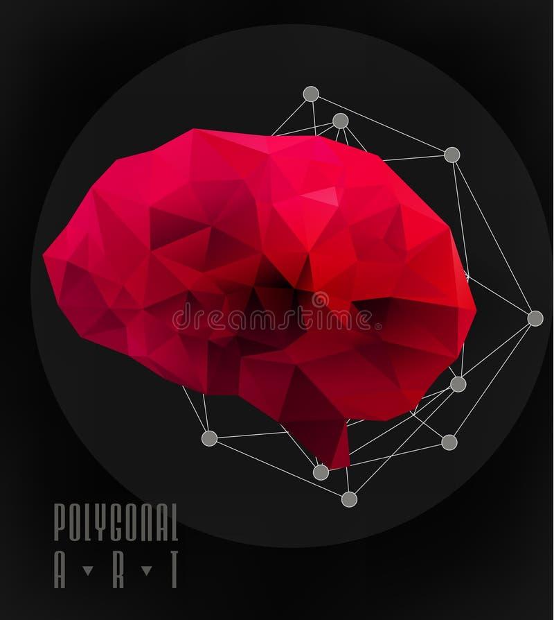 Абстрактный полигональный мозг иллюстрация вектора