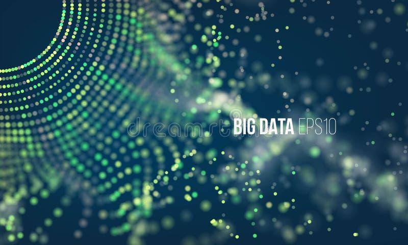 Абстрактный процесс кодирвоания Infographic больших данных футуристическое Красочная решетка частицы с bokeh иллюстрация вектора