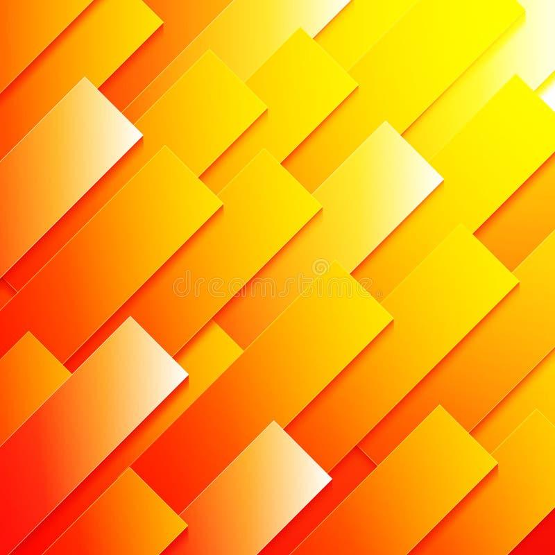 Абстрактный прямоугольник красного цвета, оранжевых и желтых бумажный иллюстрация штока