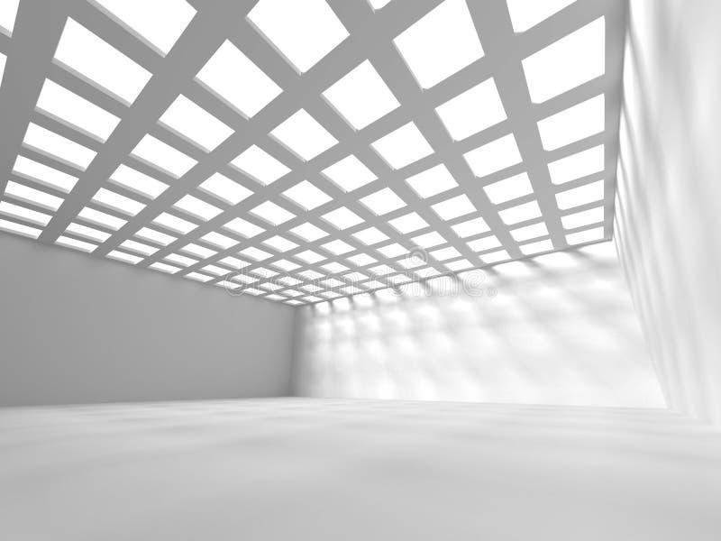 Абстрактный пустой интерьер комнаты с крышей решетки иллюстрация вектора